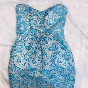 BLUE & GOLD STRAPLESS COCKTAIL DRESS!!